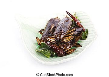 insetos, fritado, crispy