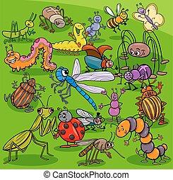 insetos, grupo, caricatura, caráteres, animal