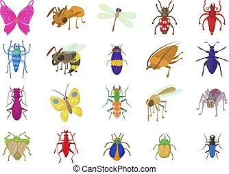insetos, jogo, estilo, caricatura, ícone