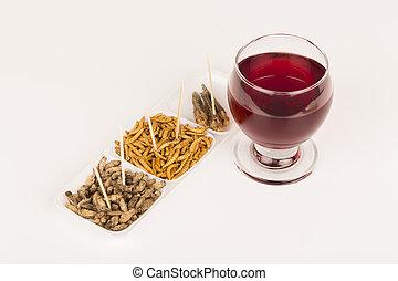 insetos, locustídeo, vidro, molitors, grilos, fritado, vinho