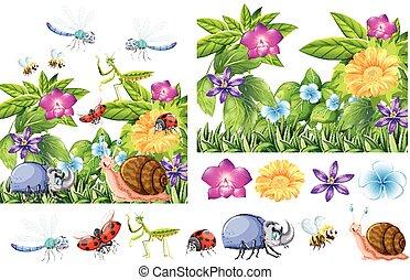 insetos, muitos, jardim flor