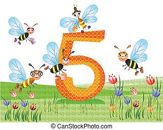 insetos, série, números