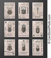 insetos, vindima, selos, jogo, colorido