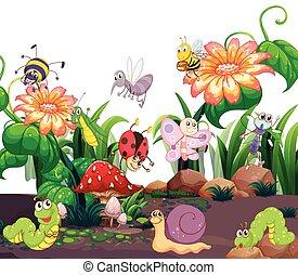 insetos, vivendo, diferente, jardim
