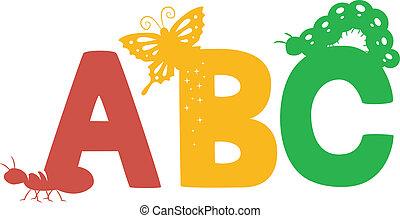 insetti, abc, silhouette