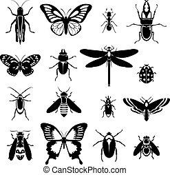 insetti, bianco, set, nero, icone