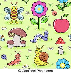 insetti, carino, prato, estate