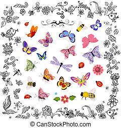 insetti, carino, volare, set