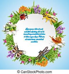 insetti, cornice, rotondo