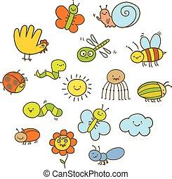 insetti, divertente, stile, set, bambini