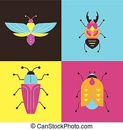 insetti, errori del software, set, farfalla, coccinella