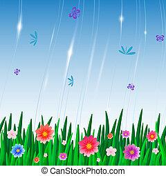 insetti, modello, ripetere, piastrella, fiori
