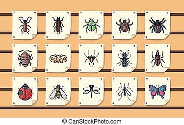 insetti, set, errori del software, icone