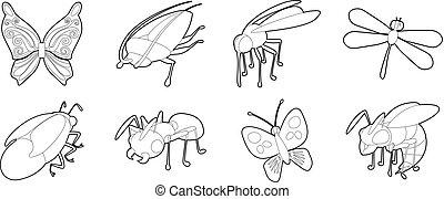 insetti, set, stile, contorno, icona