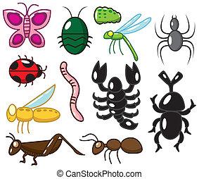 insetto, cartone animato, icona