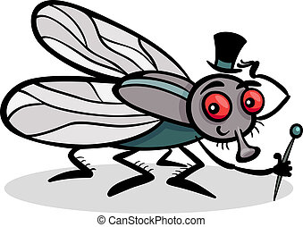 insetto, cartone animato, illustrazione, mosca domestica