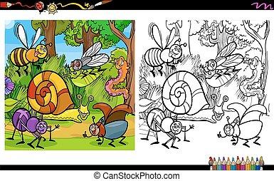 insetto, coloritura, pagina, caratteri