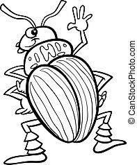 insetto, coloritura, patata, pagina, scarabeo