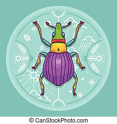 insetto, elementi, disegno, insetto, scarabeo