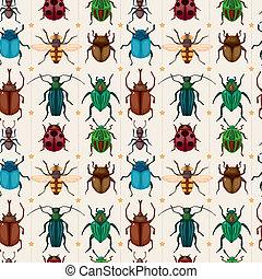 insetto, modello, seamless, insetto, cartone animato