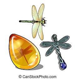 insetto, primo piano, set, gioielleria, oggetti, amber., vendemmia, isolato, fondo., tema, vettore, bianco, libellule, cartone animato, illustration.