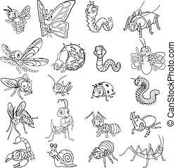 insetto, set, arte, linea, cartone animato