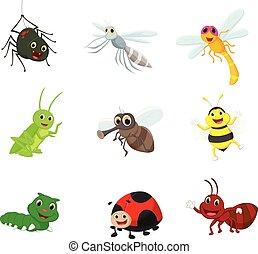 insetto, set, cartone animato, collezione