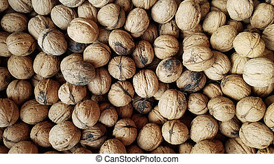 inshell walnuts as background