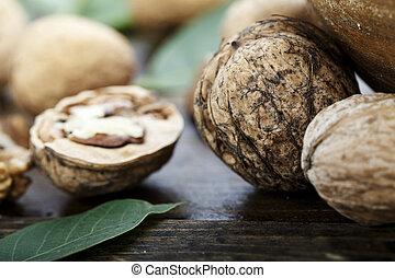 inshell walnuts close-up