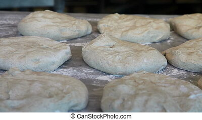 Inside a bakery - Baker preparing dough