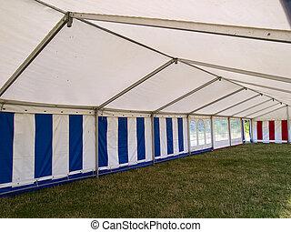 Inside a big party tent