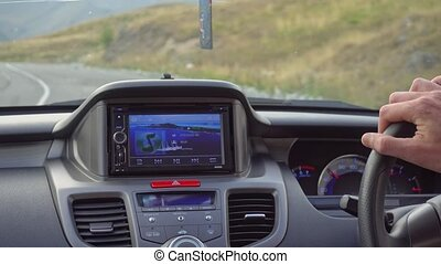 Inside a Car. A GPS Module is On - Tbilisi, Georgia - 14...