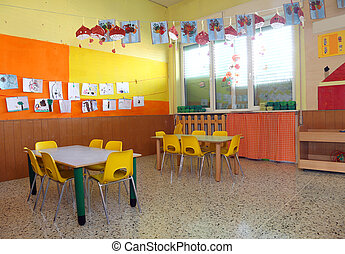 inside a classroom of a kindergarden without people and many...