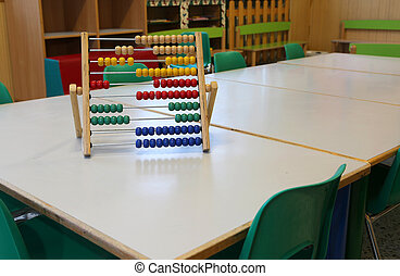 inside a classroom of kindergarten and an old wooden abacus