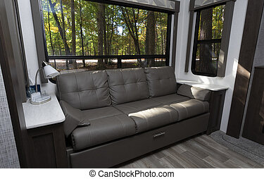 Inside a comfortable camper trailer in the fall