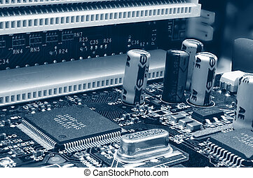 Inside a computer - closeup on motherboard