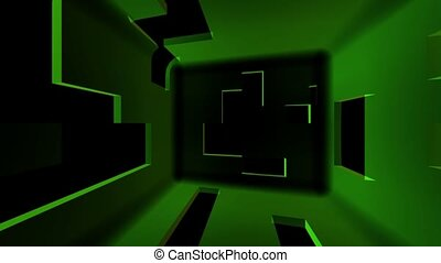 Inside a Cube with Geometric Shapes