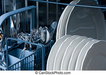 Inside a Dishwasher with blue toned