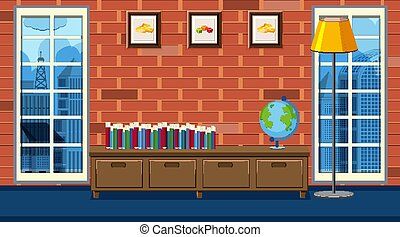 Inside a livng room house with books