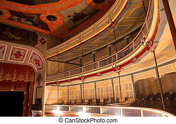 Inside a nineteenth century theater