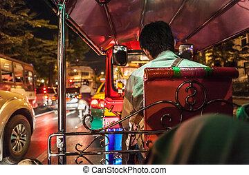 Inside a Tuktuk - traffic jam seen from inside a Tuk Tuk in...