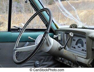 Inside a vintage car