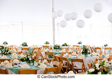 inside a wedding tent - A look inside a tent set for fine ...