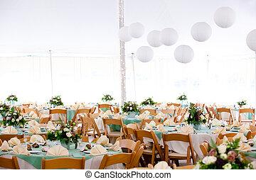 inside a wedding tent - A look inside a tent set for fine ...