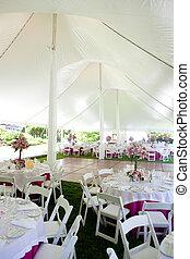 Inside a wedding tent