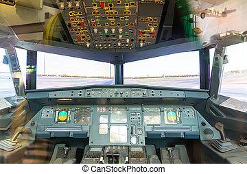 Inside airplane pilot cabin.