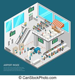 Inside Airport Isometric Poster - Airport poster of terminal...