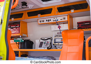 Inside an ambulance with