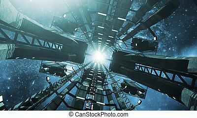 Inside an impressive space station