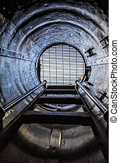 Inside an Old Submarine - The escape hatch of an old retired...